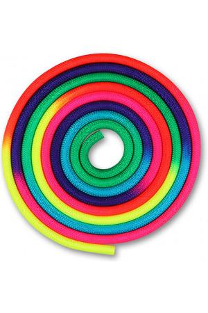 IN038 Скакалка для художественной гимнастики утяжеленная семицветная  INDIGO 165 г
