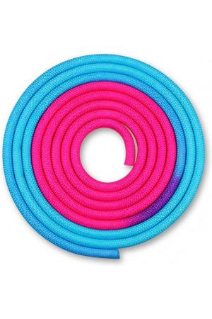 IN039 Скакалка для художественной гимнастики утяжеленная двухцветная INDIGO 165 г