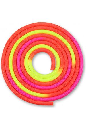 IN126 Скакалка для художественной гимнастики утяжеленная трехцветная INDIGO 165 г