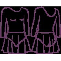 ДГ 330 Купальник гимнастический рукав 3/4, юбка - сетка