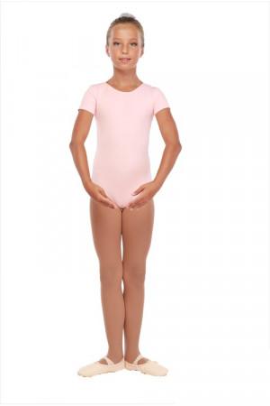 Г 83-301 Ф Купальник гимнастический, рукав-футболка (хлопок) Цвет фламинго