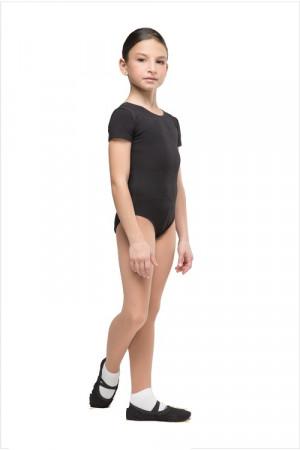 Г 83-301 Купальник гимнастический, рукав-футболка (хлопок) Цвет черный, белый