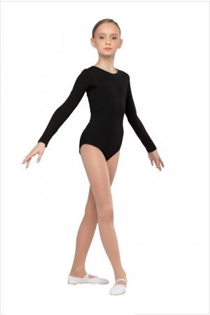 Г 93-301 Купальник гимнастический, длинный рукав (хлопок) Цвет черный, белый